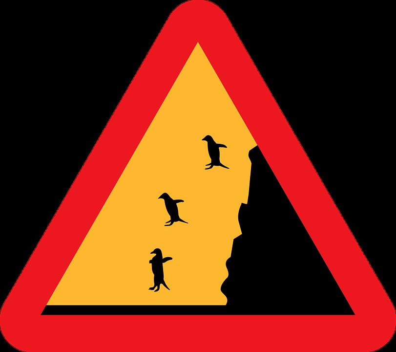 Cartello stradale divertente di caduta pinguini