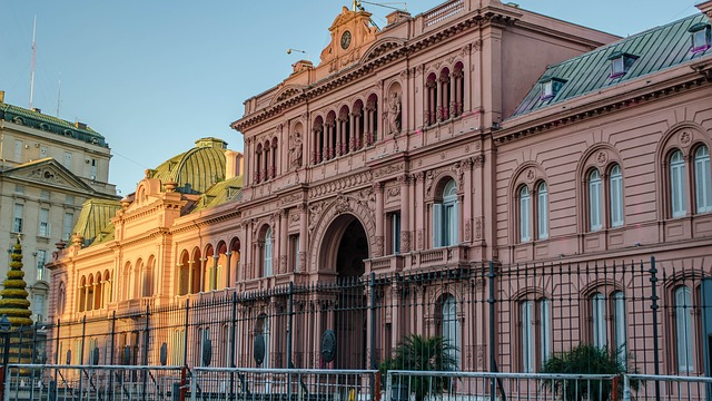 La casa presidenziale di Buenos Aires, detta Casa Rosada in virtù del suo colore.