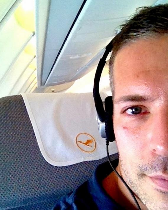 Carlos Melia on the plane thinking about his next trip