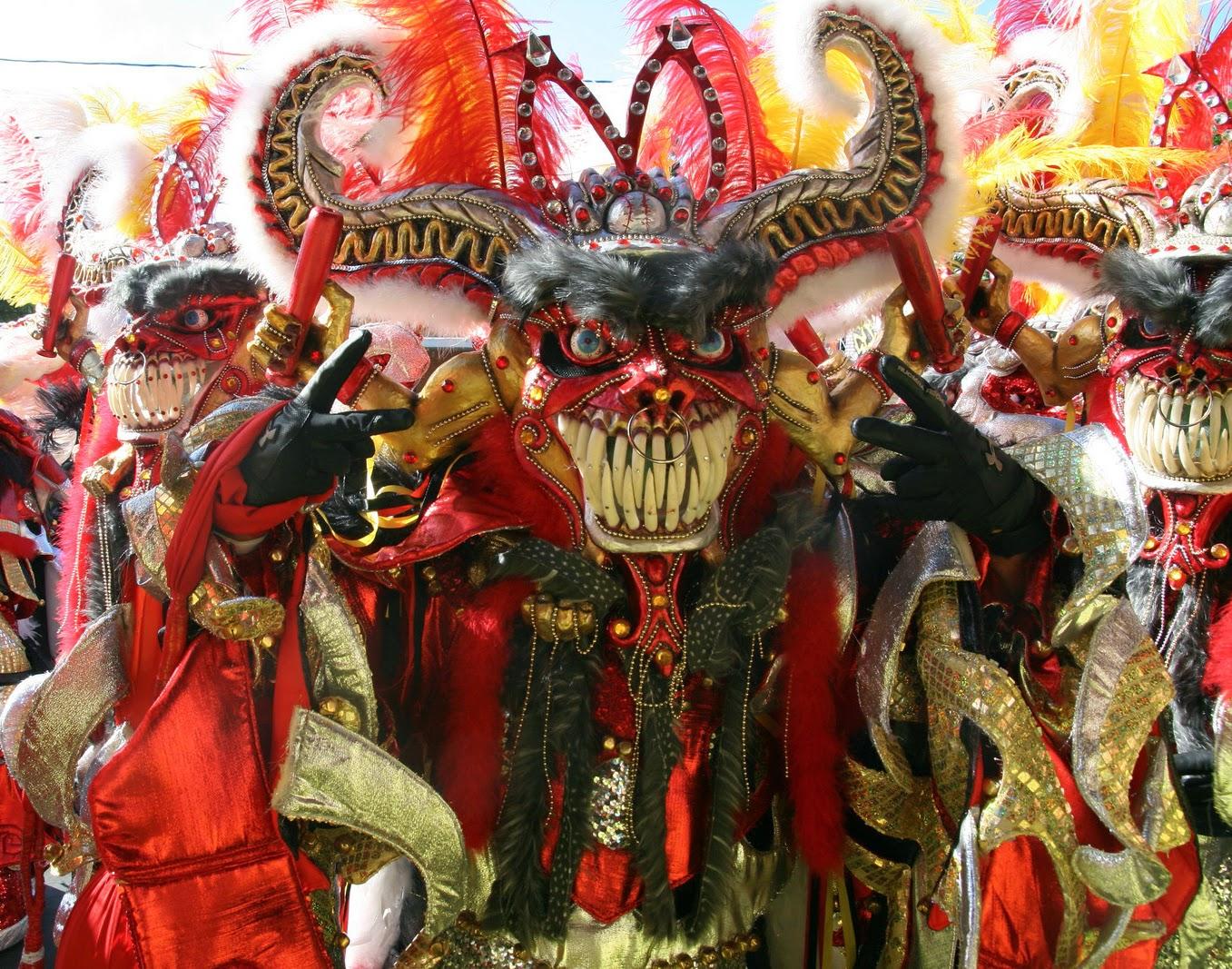 Il costume tipico del Diablo Cojuelo della città di La Vega, nella Repubblica Dominicana