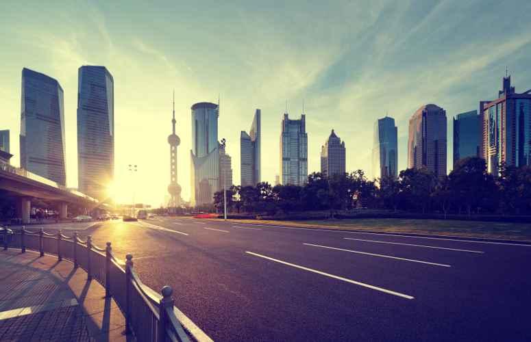 Il quartiere finanziaro di Lujiazui a Shanghai